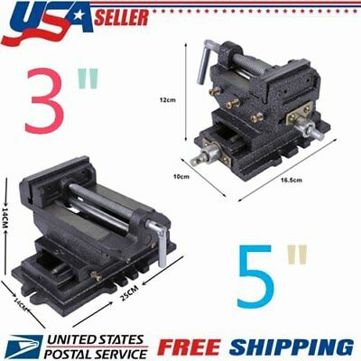 "3""/5"" Cross Drill Press Vise X-Y Clamp Machine Slide Metal Milling 2 Way USA MA"