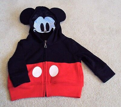 baby boys Disney Mickey Mouse hoodie with mask, age 6-9 months.