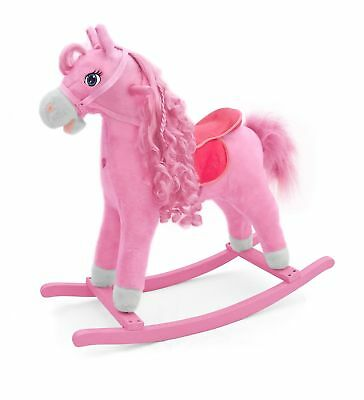 Childrens Wooden  Rocking Horse, plush Pony TOY- pet with sound