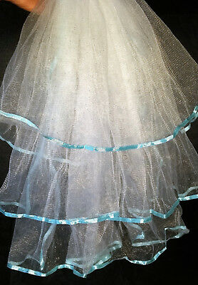 3 Tiered Layer White Veil With Aqua Ribbon Lining Bachelorette Or Bridal Shower