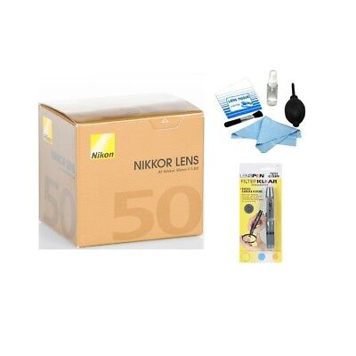 Brand New Nikon AF NIKKOR 50mm f/1.8D Autofocus Lens + Cleaning Kit Bundle