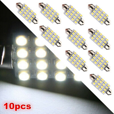 10 pcs white 42mm 16SMD Car LED Festoon Dome Interior Cargo Light Bulbs 211 578