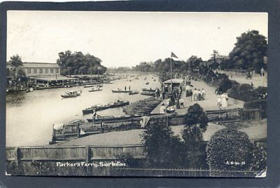 Parker's ferry SURBITON Posted 1922 Lots of small boats on the river