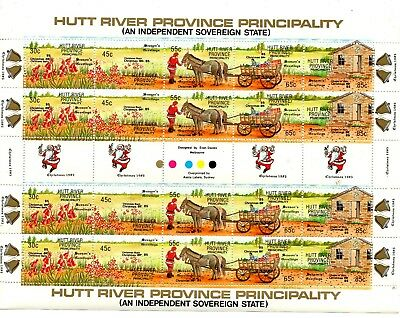 A Full Sheet Of Stamps From Australia Hutt River Province Principality 1985.
