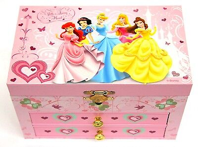 Disney Princess Musical Jewellery Box with Drawers NEW Cinderella Belle Snow