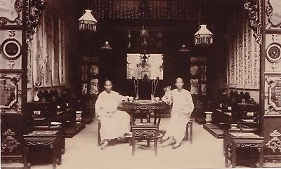 Silver Photograph Citrate Asia China 1900 Canton  Two Men in Boat ? Interior