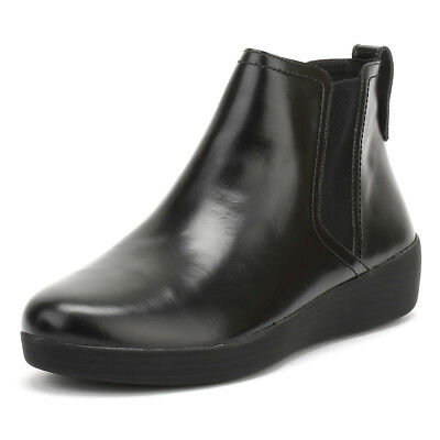 FitFlop Womens All Black Superchelsea Boots Leather Slip On Winter Ankle Shoes