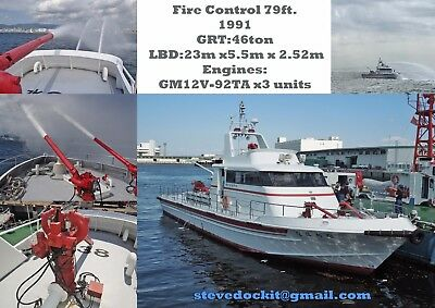 Fire Boat Japan Government. 79ft alloy three engine. Full logs/recon.