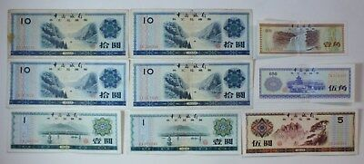 1979 Bank of China Foreign Exchange Certificate Lot of 9