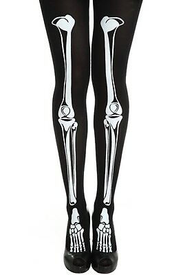 Ladies Halloween Tights Skeleton Bone Print Black Fancy Dress Womens