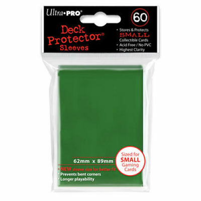 Ultra Pro Deck Protector Small Sleeves GREEN YuGiOh Cards 60ct Pack - 62 x 89mm