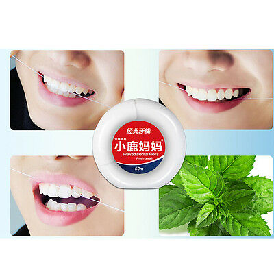 50m Peppermint Micro wax Dental Floss Care Picks Tooth Cleaner Health Supply 5HU