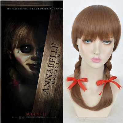 Kid's children Halloween small little size wigs bow Annabelle doll cosplay wig