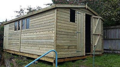 20 x 10 13mm Tanalised pressure treated T&G apex shed workshop extra height