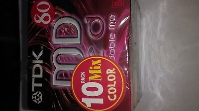 10 x TDK 80 BRAND NEW BLANK MINIDISC-SEALED-MD 80-RECORDABLE-MINI DISCS