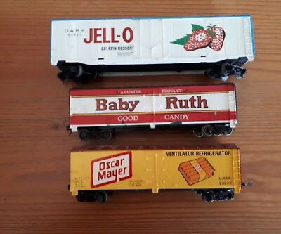 3 x Tyco box cars Various. HO scale. Used.
