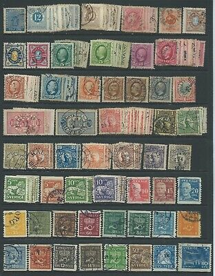 3 scans-Large collection of mostly good used Sweden stamps.
