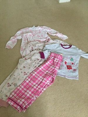 3 Pairs Of Age 5-6 Girls Pyjamas The Little White Company , M And S , Their Nibs