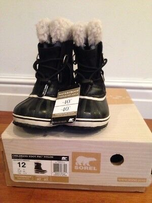 NEW Childs SOREL Yoot Pac Snow Boot -Size 12 (USA), 11 (UK), 29 (EUR) Black/NOIR
