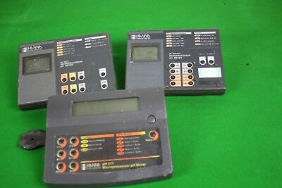 Lot of 3 Hanna Instruments Microprocessor pH Meters