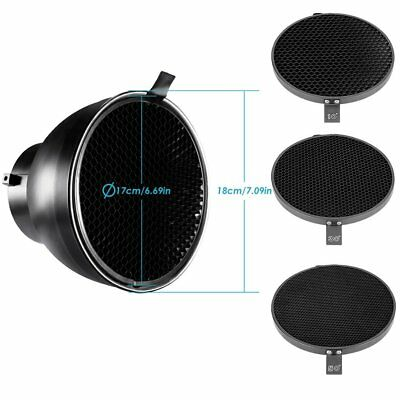 "7"" Standard Reflector Diffuser +10° 30° 50° Honeycomb Grid for Bowen Mount Flash"
