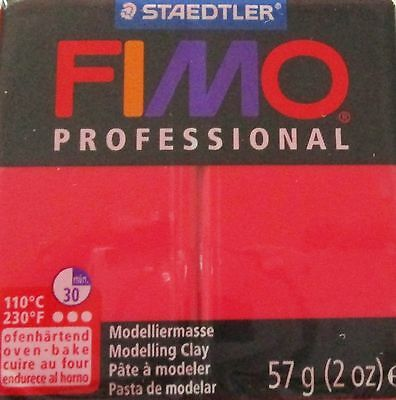 FIMO PROFESSIONAL - Polymer Clay - 57g BLOCK - RED - CLEARANCE