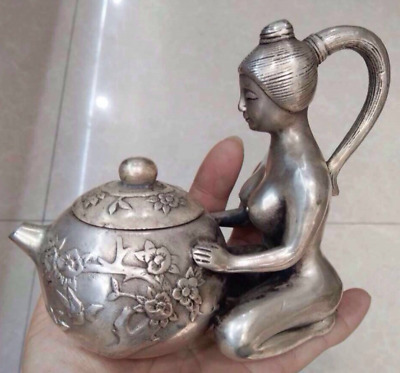 Chinese antique engrave old Tibet silver belle statue teapot