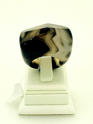 Grey Brown Agate Pyramid geode Ring women men positive energy fashionable style
