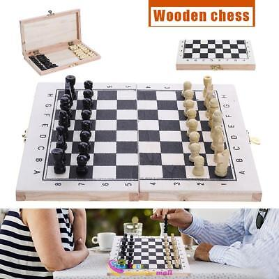 Wooden Chess Set Hand Crafted Pieces and Foldable Board Portable Travel Game