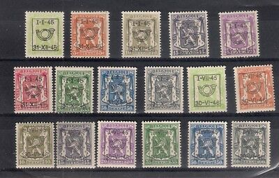BELGIUM Precancels all MNH 1945 small state seal
