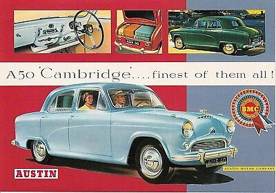 British Cars of 50`s and 60`s POST CARD, Austin A50 Cambridge