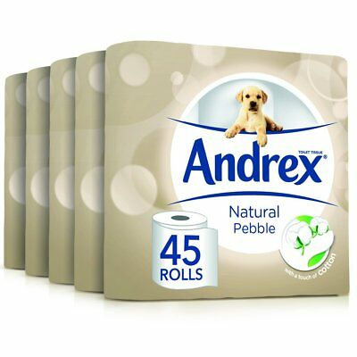 Andrex Natural Pebble Toilet Roll Tissue Paper - 45 Rolls NEW