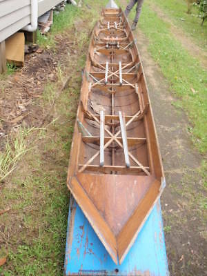 Antique original wooden rowing row boat Sculling