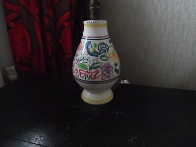 Vintage Large Poole Pottery Lamp Base Hand Painted 10 In High