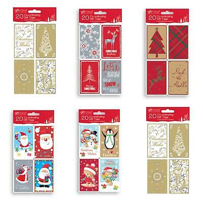 20 Packchristmas Gift Tags Traditional Kraft Cute  Labels Xmas Present