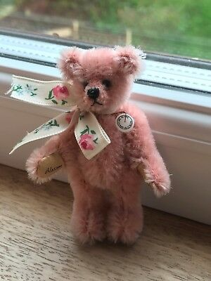 World of Miniature Bears  - 'Blossom' 7cm standing pink mohair jointed lbear