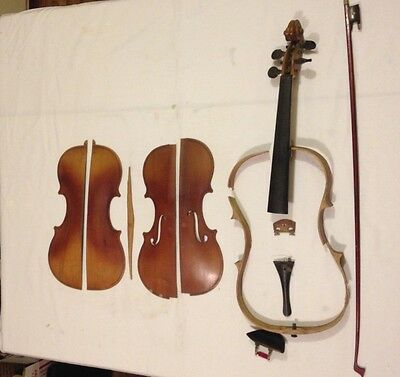 Vintage VIOLIN with Becker Chin rest, OLD, PARTS
