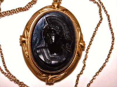 BIG Mourning LOCKET NECKLACE Pinchbeck Carved Jet Cameo LOCKET NECKLACE