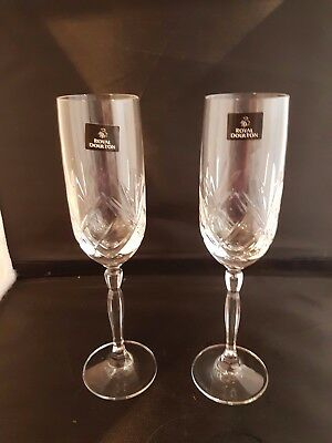Royal Doulton ' Daily Mail' Crystal Champagne Flutes  X 2