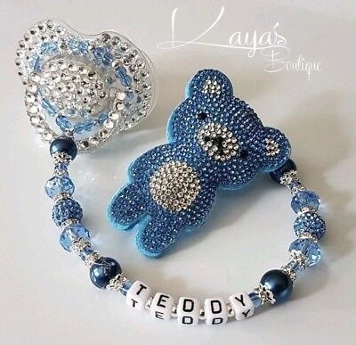 *Blue Diamante Teddy* Shamballa Pearl Crystal Romany Dummy Clip Boy Personalised