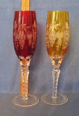 "Pr BOHEMIAN CUT TO CLEAR CRYSTAL CHAMPAGNE FLUTES RUBY RED YELLOW GOLD 8"" EXCE"