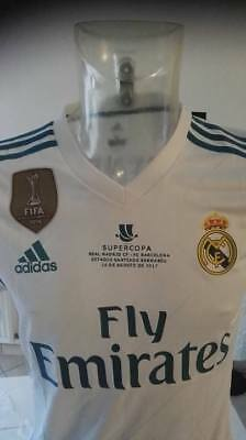 Maillot jersey foot porté Benzema du Real Madrid Finale Supercopa Barcelone