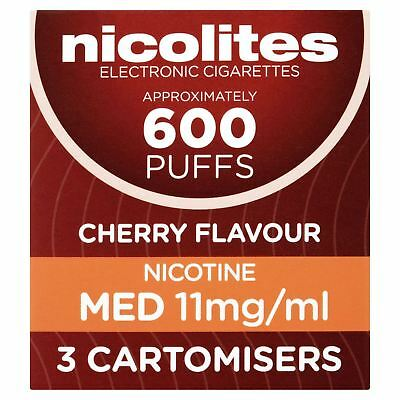 Nicolites Cherry Flavour Nicotine Med 11mg/ml 3 Cartomisers