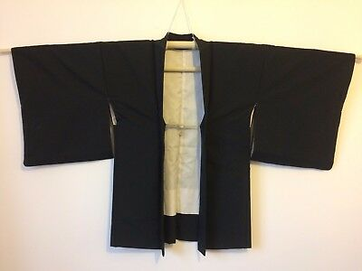 Authentic Japanese black silk haori jacket for kimono, embroidered, himo(AD1759)