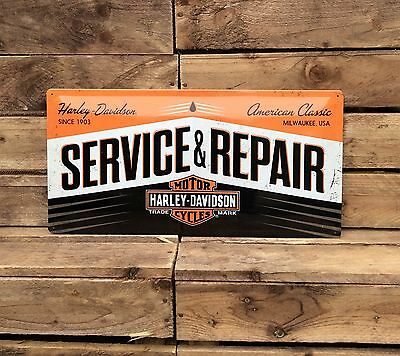 Harley Davidson service Garage. Extra Large metal sign. Embossed sign.