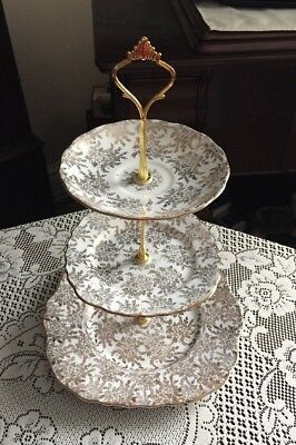 Beautiful Vintage Royal Vale 3 Tier Matching China Cake Stand New Price