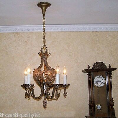 837 Vintage 20s 30s Ceiling Light fixture art nouveau SOLID BRONZE chandelier