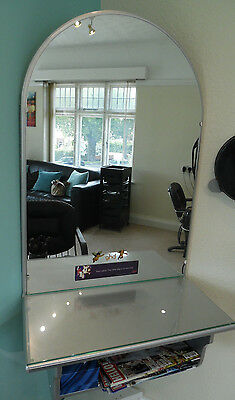 Hairdressing work salon station dressing table - silver surround mirror & shelf