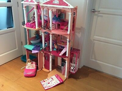 Girls Barbie 3 Storey Doll Dream House Play Set With Furniture & Barbies