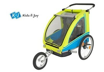 Bicycle Trailer Child Trailer Two-Seater Dual with Parking Brake Yellow/Blue